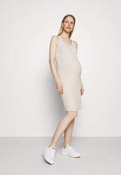 ONLY - OLMNELLA V NECK DRESS - Vestido ligero - oatmeal melange