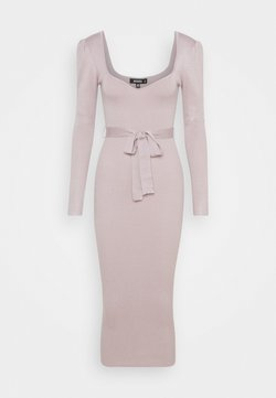 Missguided - SWEETHEART BELTED MIDAXI DRESS - Vestido de punto - lilac
