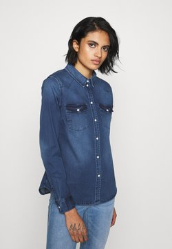 Vero Moda - VMMARIA - Button-down blouse - dark blue denim