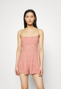 Abercrombie & Fitch - FRONT RUCHED ROMPER  - Jumpsuit - red dot