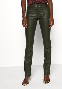 Ibana - LUCILLE - Leather trousers - green
