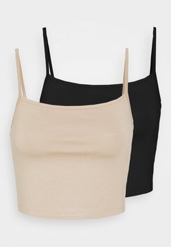 KENDALL + KYLIE - CROPPED STRONG SINGLET 2 PACK - Top - black/beige