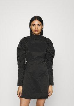 Glamorous - GATHERED MINI SKATER DRESS WITH PUFF LONG SLEEVES AND HIGH NECK - Freizeitkleid - black