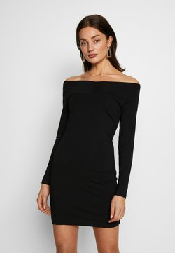 Even&Odd - BASIC - OFF-SHOULDER MINI LONG SLEEVES DRESS - Shift dress - black