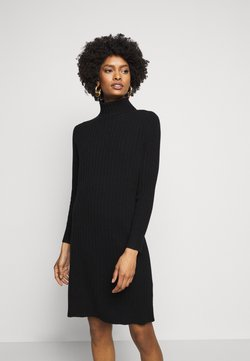 pure cashmere - TURTLENECK DRESS - Neulemekko - black