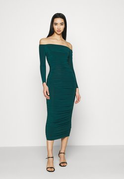 Missguided - BARDOT SLINKY RUCHED MIDAXI DRESS - Vestido ligero - deep green