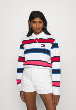 Tommy Jeans - STRIPED RUGBY - Poloshirt - white
