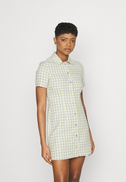 Kickers Classics - GINGHAM SHIRT DRESS - Vestido camisero - blue/yellow