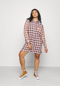 Missguided Plus - CHECK SHIRT DRESS - Skjortekjole - orange