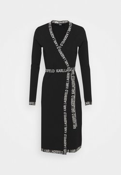 KARL LAGERFELD - LOGO TAPE WRAP DRESS - Sukienka letnia - black