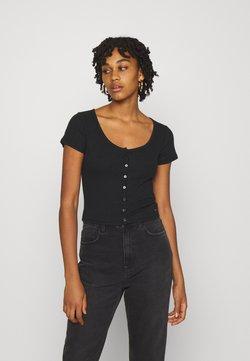 Hollister Co. - BUTTON THROUGH - T-Shirt print - black
