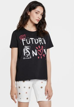 Desigual - T-shirt con stampa - black