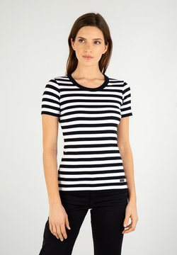 Armor lux - HILLION MARINIÈRE - T-Shirt print - rich navy/blanc
