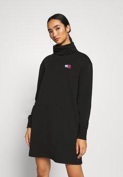 Tommy Jeans - BADGE MOCK NECK DRESS - Day dress - black