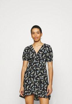 Dorothy Perkins - DITSY FOCHETTE WRAP FRONT MINI DRESS - Jerseykleid - black