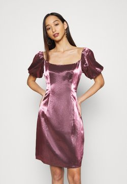 Glamorous - CORSET MINI DRESS WITH PUFF SHORT SLEEVES AND CURVED NECKLINE - Cocktailkleid/festliches Kleid - pink metallic