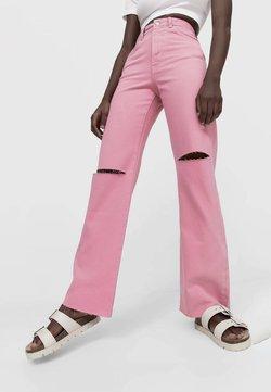 Stradivarius - Straight leg -farkut - pink