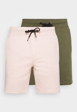Pier One - 2 PACK - Shorts - olive/pink