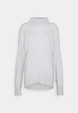 pure cashmere - HIGH NECK OVERSIZED - Strickpullover - light grey