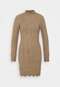 Missguided Tall - FRILL NECK MINI CABLE DRESS - Vestido de punto - stone