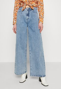Missguided - PLEAT WAISTBAND WIDE - Straight leg -farkut - blue