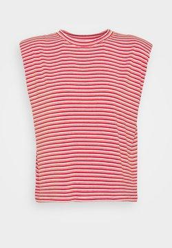 NAF NAF - EPAULETTE RAYE - T-Shirt print - rouge/ecru