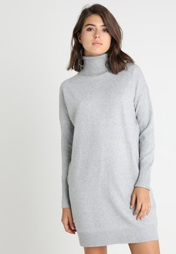 Vero Moda - VMBRILLIANT ROLLNECK DRESS  - Strickkleid - light grey melange