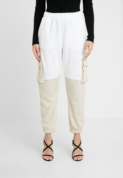 Missguided Petite - COLOURBLOCK PANEL - Jogginghose - white/camel