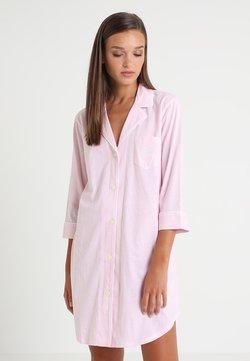 Lauren Ralph Lauren - HERITAGE 3/4 SLEEVE CLASSIC NOTCH COLLAR SLEEPSHIRT - Nachthemd - pale pink/white