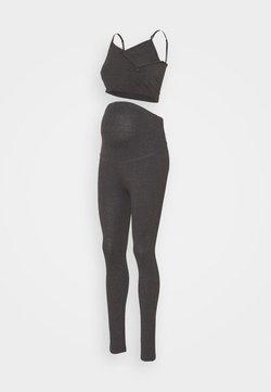 Anna Field MAMA - SET NURSING FUNCTION CROP TOP & LEGGINGS - Leggings - dark grey