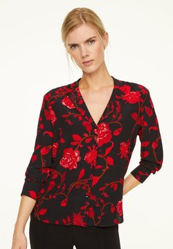 comma - MIT ALLOVER-PRINT - Hemdbluse - black red roses