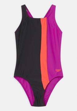 Speedo - COLOURBLOCK POWERBACK - Costume da bagno - black/diva/volcanic orange