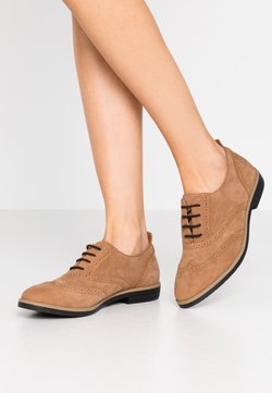 Anna Field - LEATHER FLAT SHOES - Nauhakengät - brown