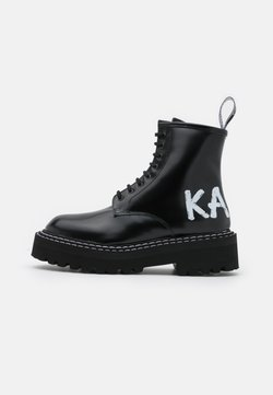 KARL LAGERFELD - PATROL BRUSH LOGO LACE - Bottines à plateau - black