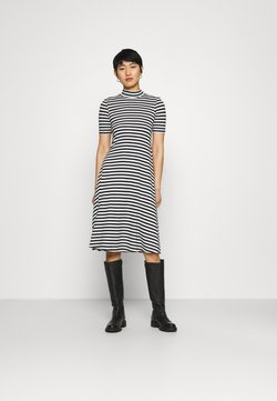 Zign - Short sleeves flared basic midi dress - Jersey dress - black/offwhite