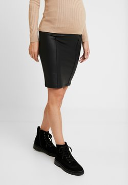 MAMALICIOUS - MLLUNA COATED PINTUC SKIRT - Falda de tubo - black