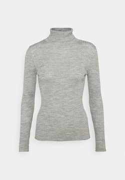 Selected Femme Petite - SLFCOSTINA ROLLNECK - Strickpullover - light grey melange
