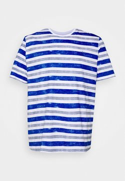 TOM TAILOR MEN PLUS - PRINTED STRIPES T-SHIRT - T-shirt imprimé - white bold watery