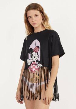 Bershka - MIT MINNIE-PRINT UND FRANSEN - T-Shirt print - black