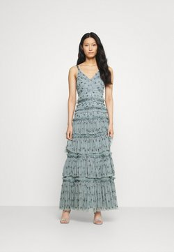 Maya Deluxe - ALL OVER EMBELLISHED MAXI WITH TIERS - Vestido de fiesta - grey