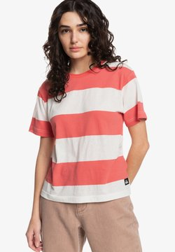 Quiksilver - T-Shirt print - red coral bold stripes