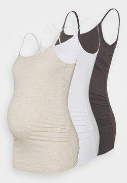 Anna Field MAMA - 3 PACK - Débardeur - mottled dark grey/beige/white