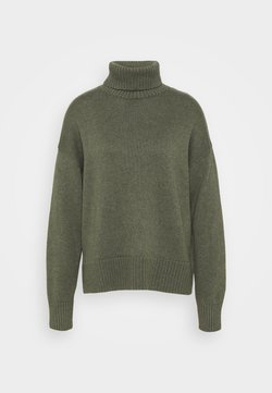 GAP - CROP OVERSIZED TNECK - Strickpullover - forest green