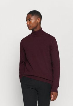 Selected Homme - SLHBERG ROLL NECK - Strickpullover - winetasting melange