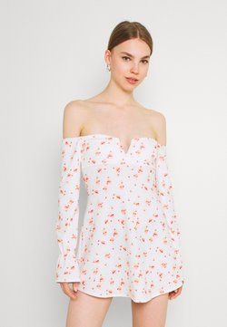 Nly by Nelly - OFF SHOULDER PRINT DRESS - Jerseykleid - white/red