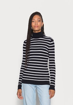 Tommy Hilfiger - CABLE ROLL - Strickpullover - desert sky/optic white