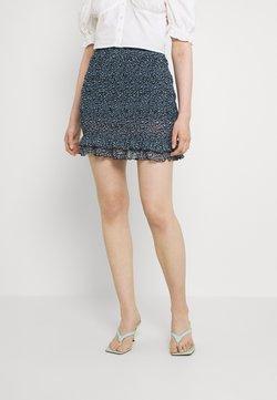 Even&Odd - Smocking mini mesh skirt - A-Linien-Rock - black/light blue