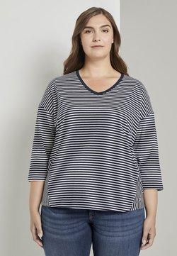 MY TRUE ME TOM TAILOR - Langarmshirt - navy ecru horizontal stripe