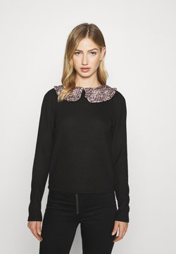 New Look - LEOPARD COLLAR PUFF SLEEVE - Maglione - black