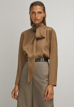 Massimo Dutti - WITH TIE DETAIL - Blouse - brown